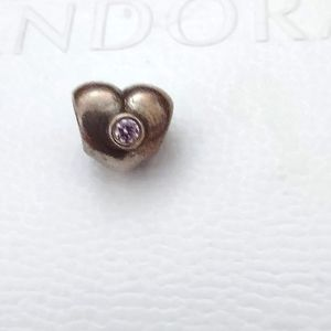 Pandora Heart Charm with Pink CZ Stone